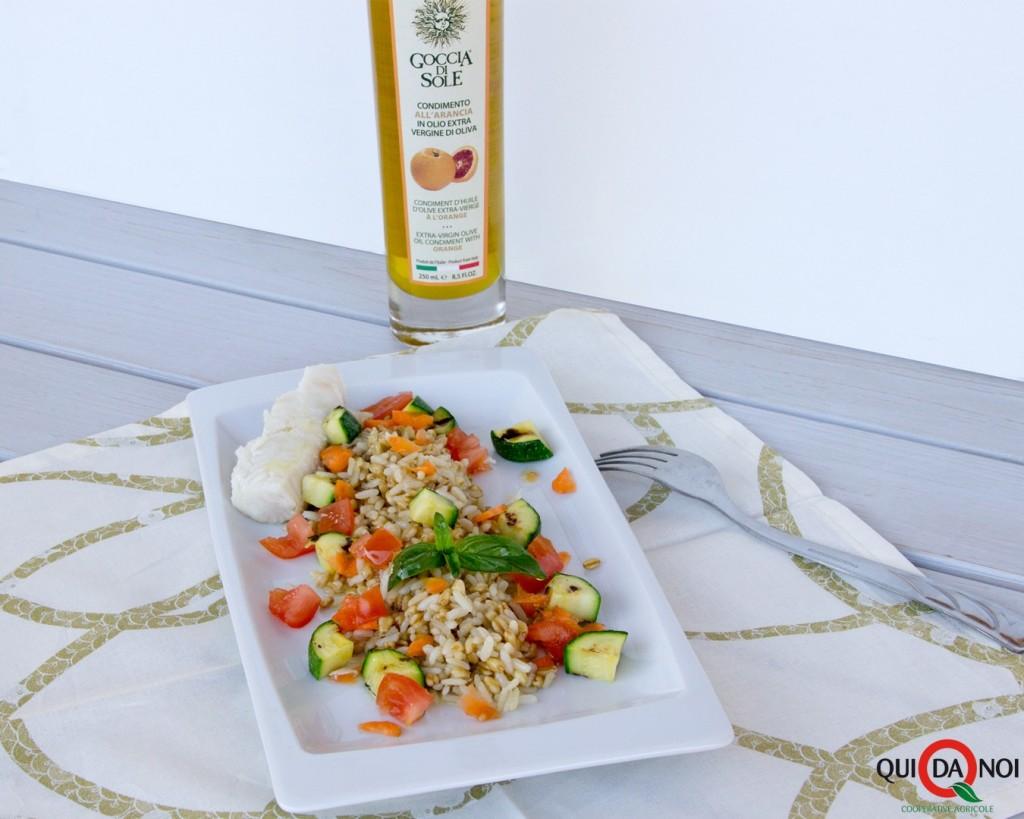 Insalata di riso e grano con merluzzo e olio all'arancia1