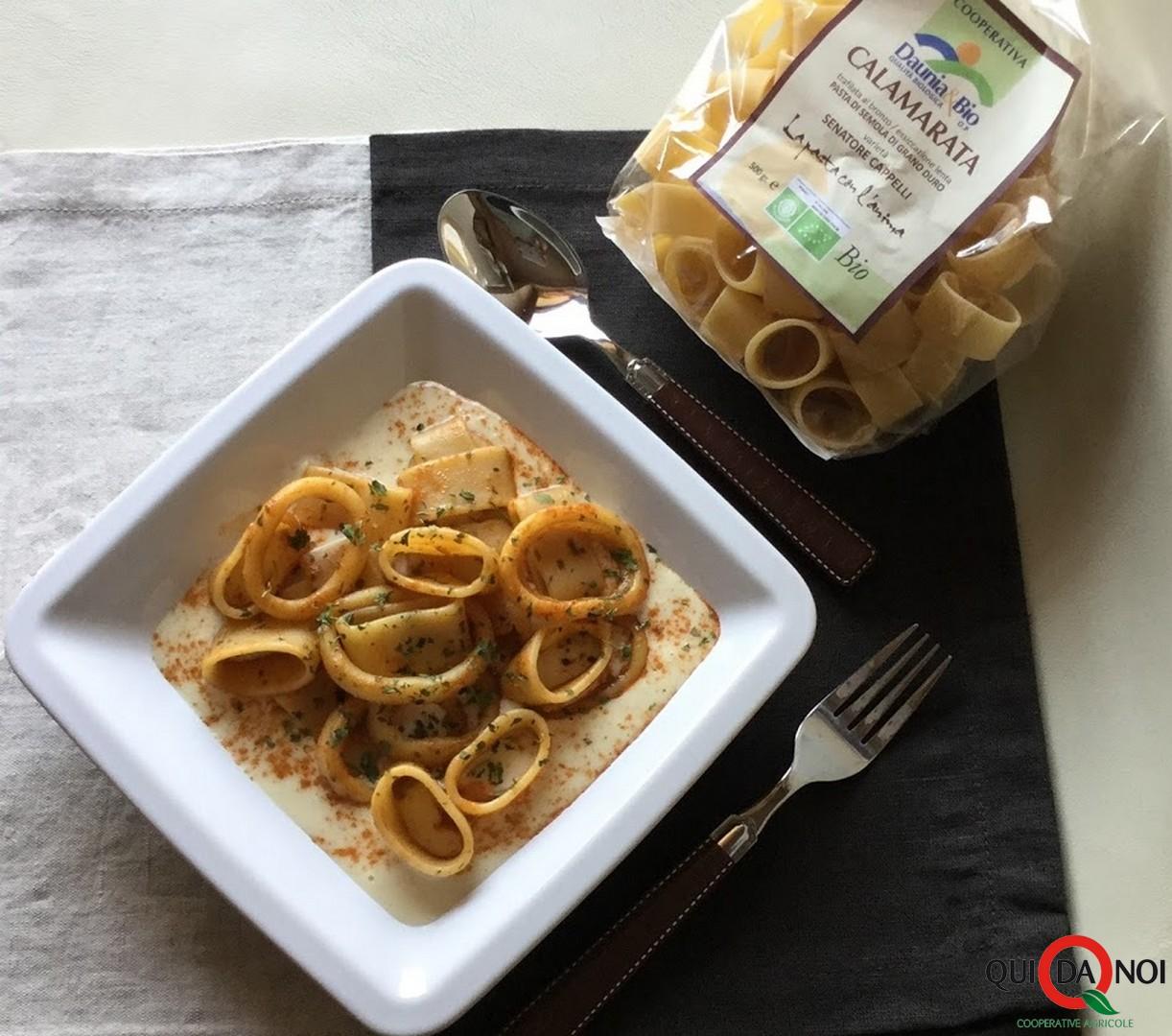 Calamarata con anelli di totano su crema di fagioli_anastasia