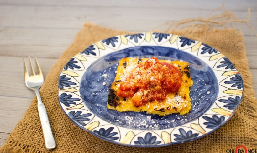 Crostini di polenta all'amatriciana