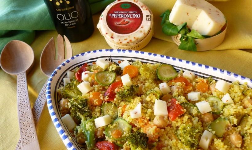 Insalata di Cuscus con verdure, ceci e Formaggio al peperoncino