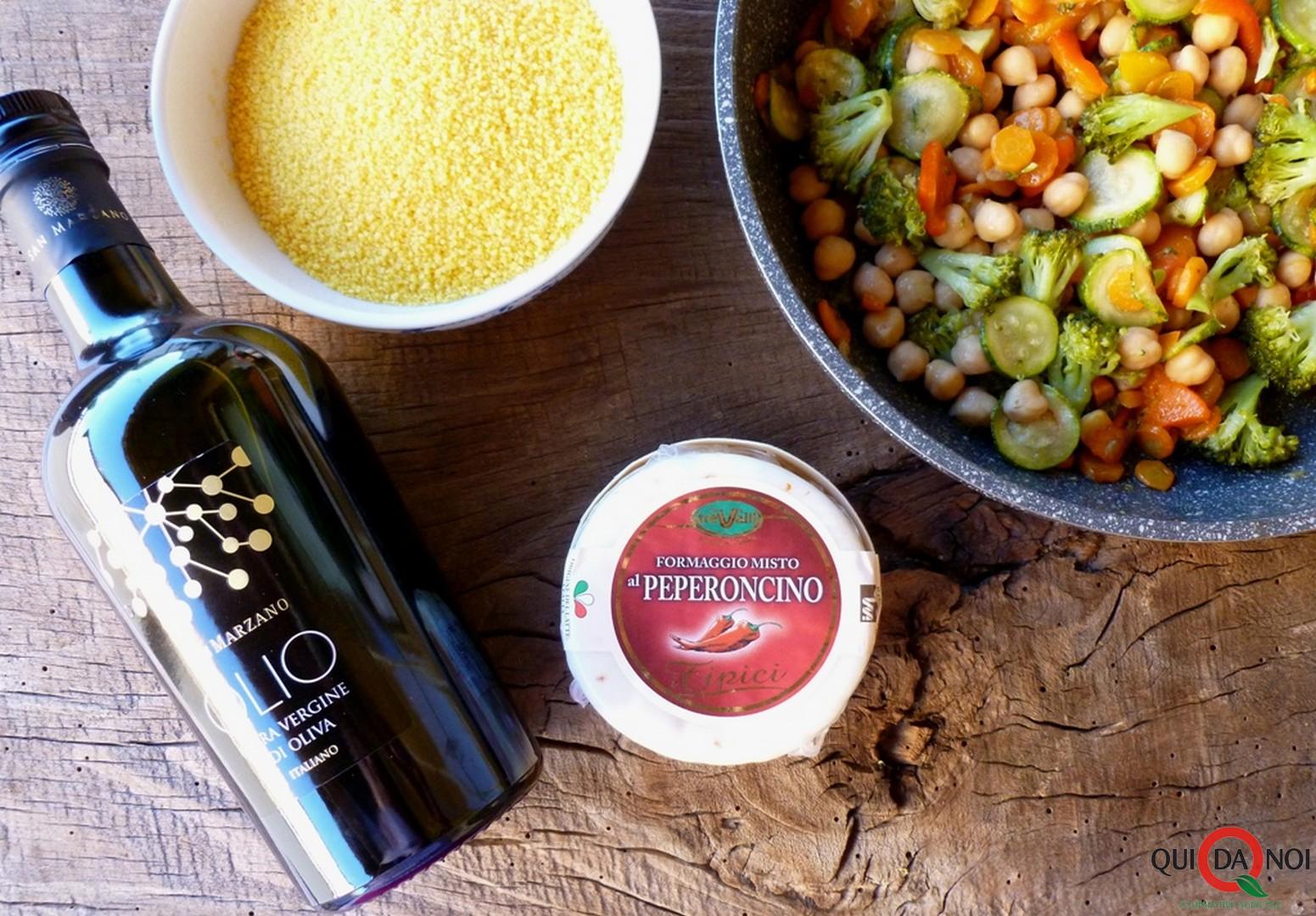 Insalata di cuscus e formaggio al peperoncino- ingredienti -Grassi