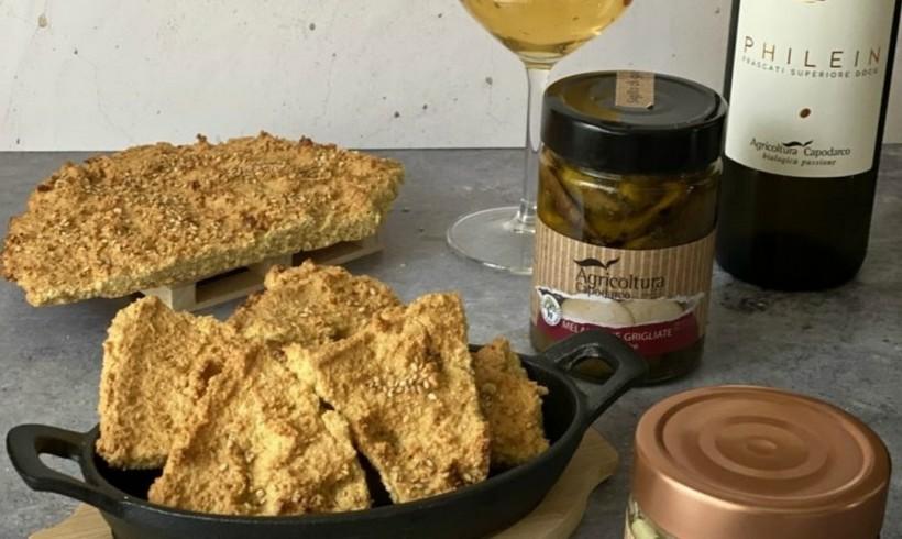 Focaccia di ceci per l'aperitivo con i prodotti Agricoltura Capodarco