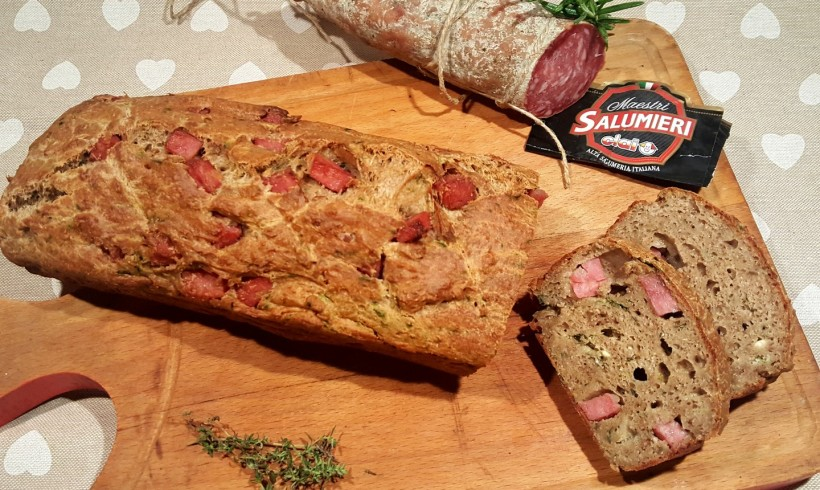 Plumcake salato con ricotta, erbette e salame campagnolo (senza glutine e senza lattosio)