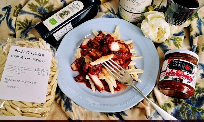 Cecatelli al sugo di polpo al vino rosso e chipotle