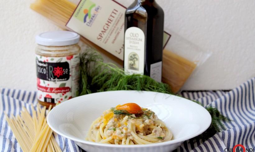 Spaghetti con sugo di sardine e composta di kumquat all'aneto