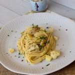 Spaghetti con cavolfiori, patate e paté di tinca affumicata del Trasimeno