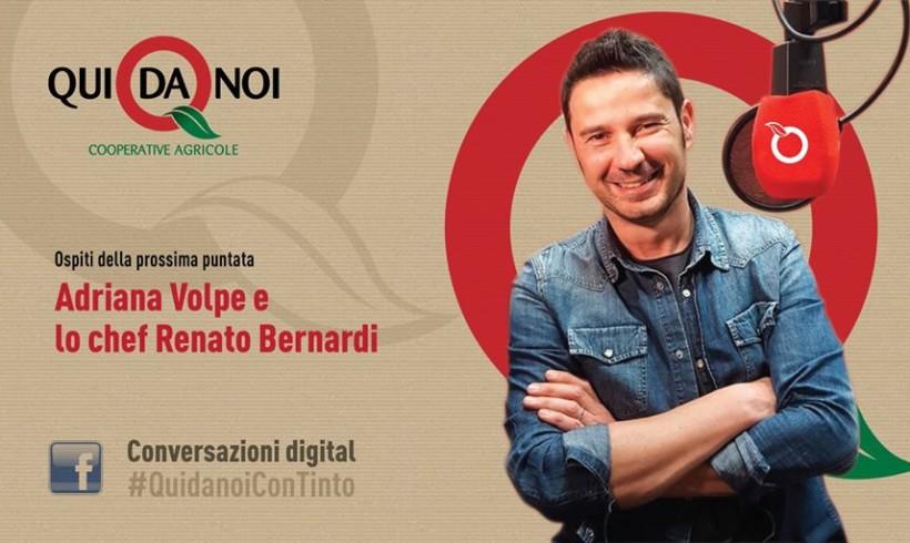 #QuidanoiConTinto: questa sera in diretta facebook con Adriana Volpe e lo chef Renato Bernardi